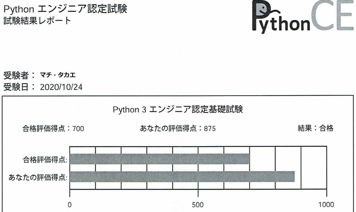 python3エンジニア認定基礎試験_合格証