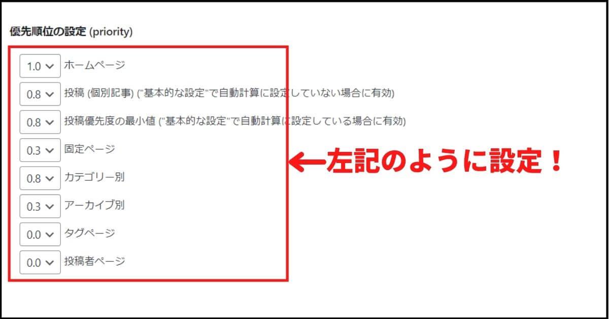 サチコ_XML Sitemap_優先順位の設定