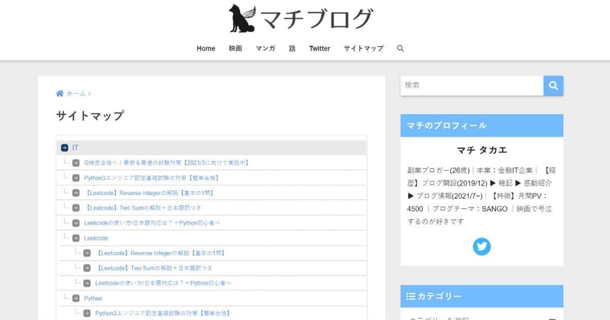 WordPress_HTMLサイトマップ