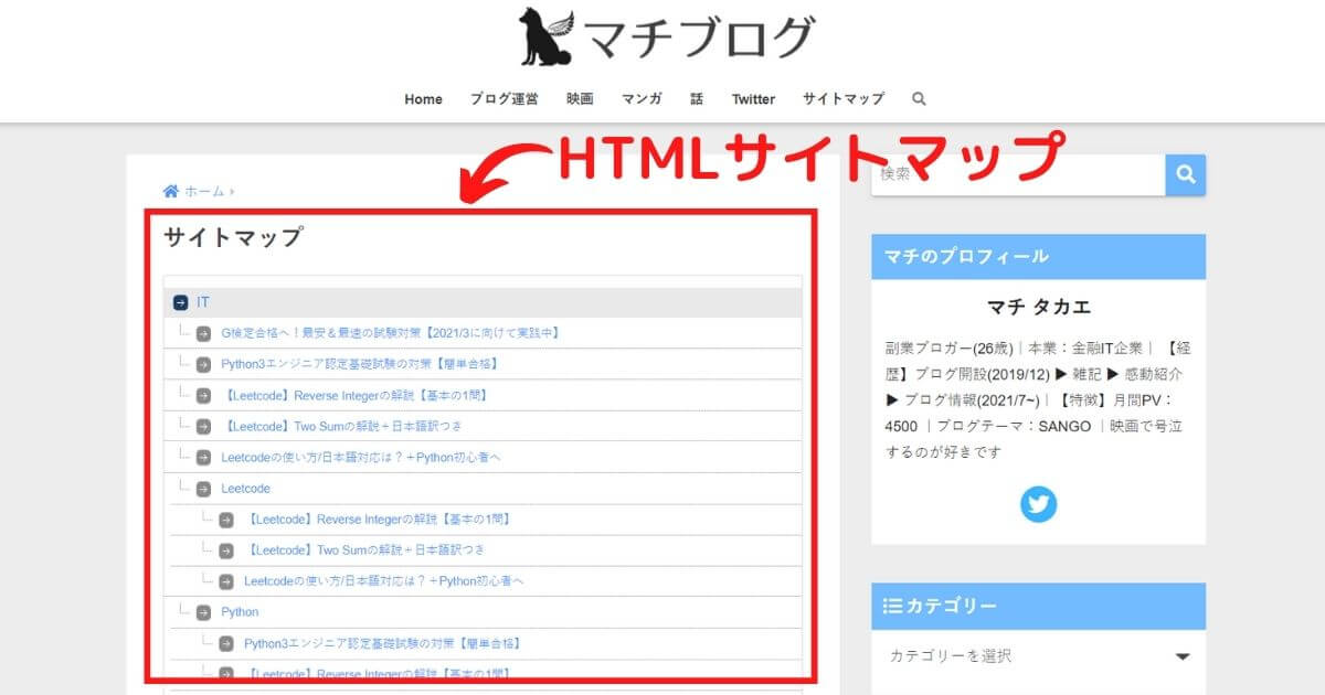 HTMLサイトマップの画像